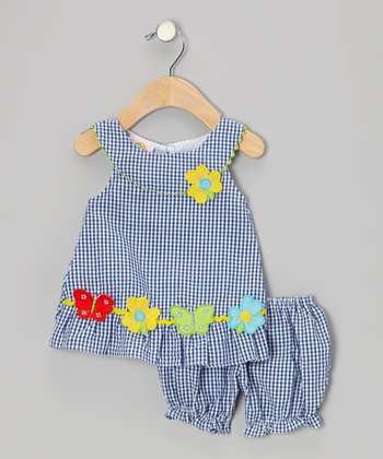 Sweet & Soft Blue Gingham Flower Seersucker Dress & Bloomers - Infant