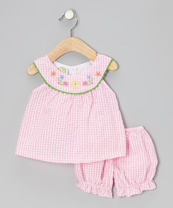 Pink Gingham Flower Seersucker Dress & Bloomers - Infant