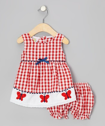 Red Gingham Butterfly Seersucker Dress & Bloomers - Infant