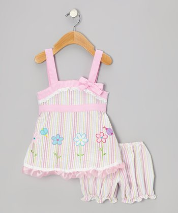 Pink Stripe Ruffle Flower Seersucker Dress - Infant & Toddler