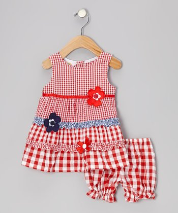 Red Gingham Ruffle Flower Seersucker Dress - Toddler