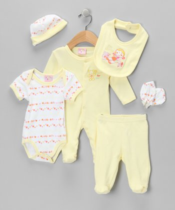 Yellow 'My Dolly' Six-Piece Layette Set