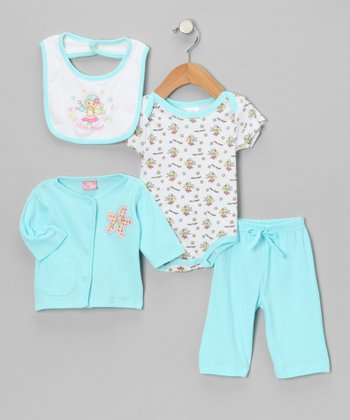 Turquoise 'My Angel' Pants Set