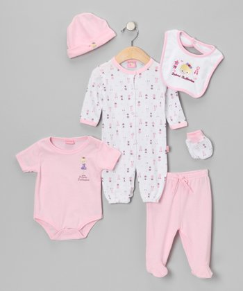 Light Pink 'Future Ballerina' Six-Piece Layette Set