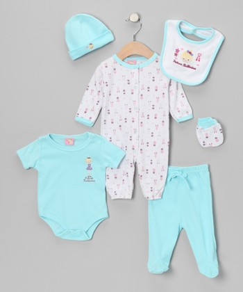 Turquoise 'Future Ballerina' Six-Piece Layette Set