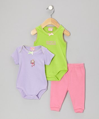 Sweet & Soft Pink & Purple Bodysuit Set