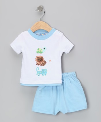 Sweet & Soft Light Blue Lion Tee & Shorts - Infant