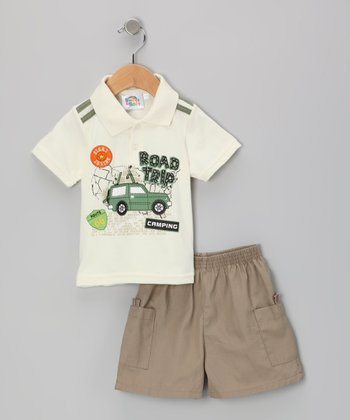 Sweet & Soft White Road Trip Polo & Shorts - Infant