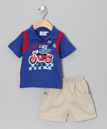 Sweet & Soft Blue 'Bike Circuit' Polo & Shorts - Infant