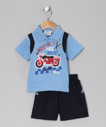 Sweet & Soft Light Blue 'Bike Circuit' Polo & Shorts - Infant
