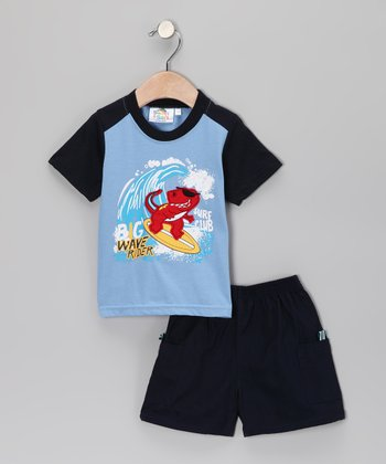 Sweet & Soft Light Blue Rad Dino Surf Club Tee & Shorts - Infant