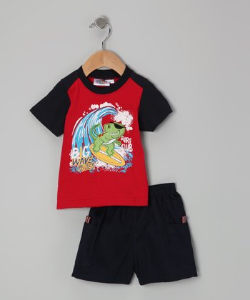 Sweet & Soft Red Big Wave Rider Tee & Shorts - Infant