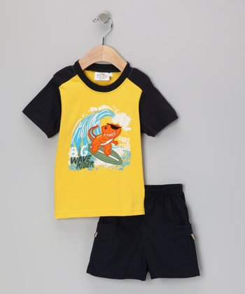 Sweet & Soft Yellow & Navy Rad Dino Surf Club Tee & Shorts - Infant