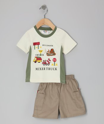 White Mixer Truck Tee & Shorts - Infant