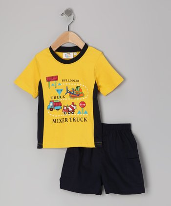 Sweet & Soft Yellow Mixer Truck Tee & Shorts - Infant