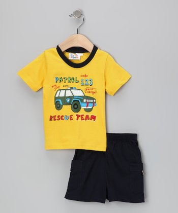 Yellow Rescue Team Tee & Shorts