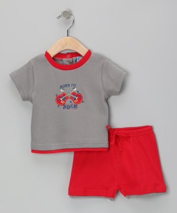 Sweet & Soft Gray 'Born to Rock' Tee & Shorts - Infant