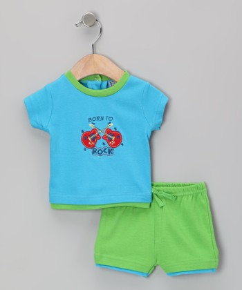 Sweet & Soft Turquoise 'Born to Rock' Tee & Shorts - Infant
