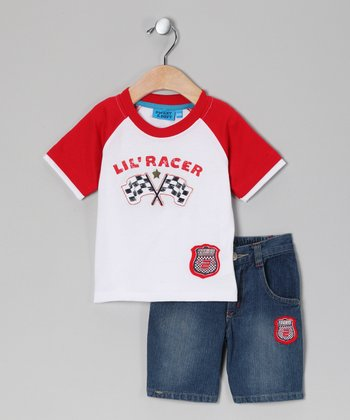 Sweet & Soft Red 'Lil Racer' Tee & Shorts - Infant