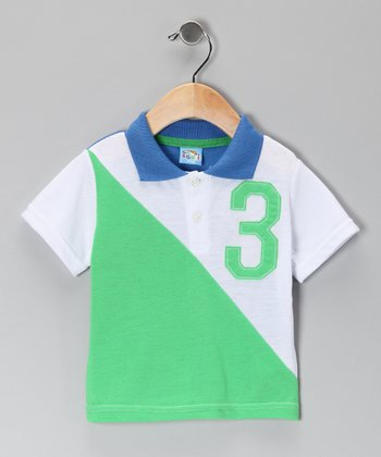 Green & White '3' Polo - Infant