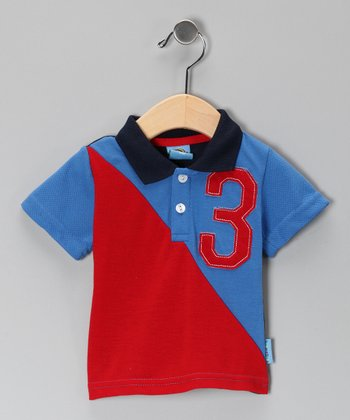 Red & Blue '3' Polo - Infant