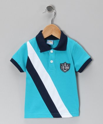 Turquoise Sash Stripe Polo - Infant