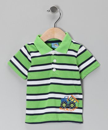 Green Stripe Work Truck Polo - Infant