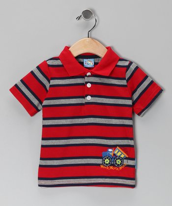 Red Stripe Work Truck Polo - Infant