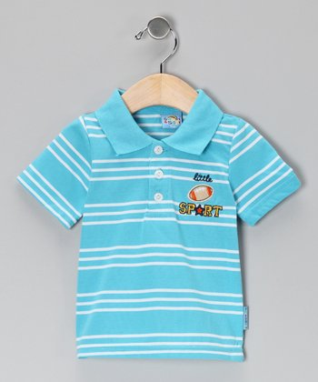 Light Blue Stripe Little Sport Polo - Infant
