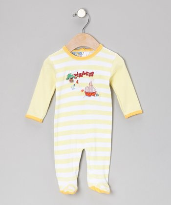 Yellow Stripe 'Pirates' Footie - Infant