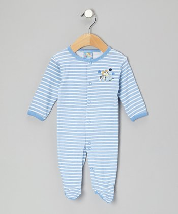 Blue Stripe Best of Friends Footie - Infant