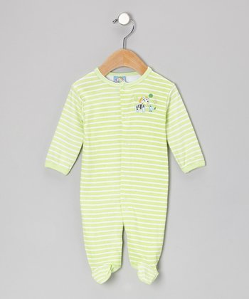 Green Stripe Best of Friends Footie - Infant