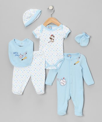 Light Blue 'Let's Play' Layette Set