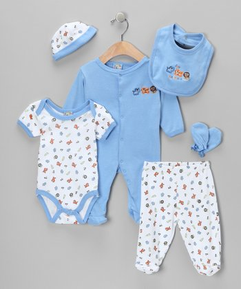 Blue 'Love Animals' Six-Piece Layette Set