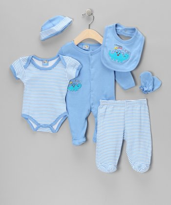 Blue Dinosaur Layette Set