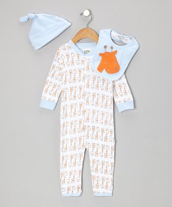Light Blue Giraffe Playsuit Set - Infant