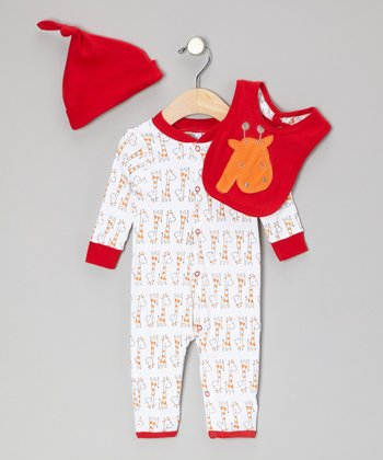 Red Giraffe Playsuit Set