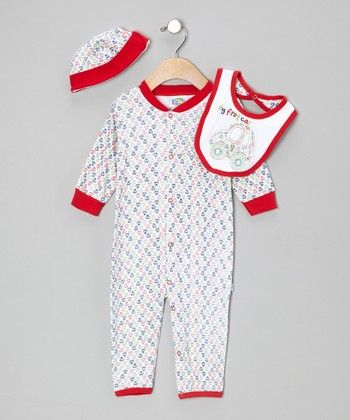 Red 'My First Car' Playsuit Set