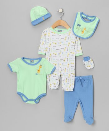 Green 'Big Brother' Six-Piece Layette Set