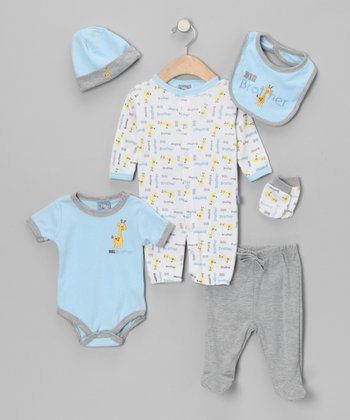 Light Blue 'Big Brother' Six-Piece Layette Set