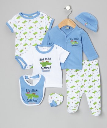 Sweet & Soft Blue 'Big Man on Campus' 7-Piece Layette Set - Infant
