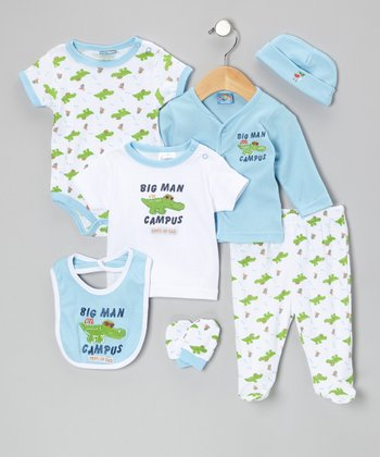 Light Blue 'Big Man on Campus' 7-Piece Layette Set