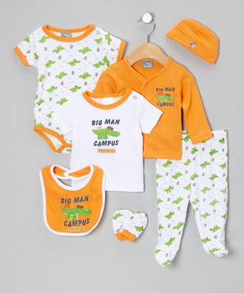 Orange 'Big Man on Campus' Layette Set
