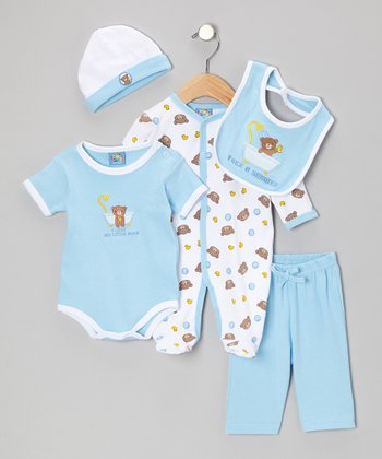 Blue 'Take a Shower' Five-Piece Layette Set