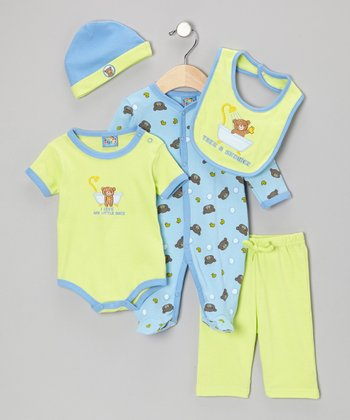 Lime 'Take a Shower' Five-Piece Layette Set - Infant