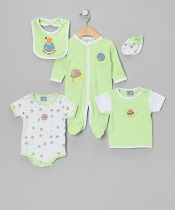Green 'Just Arrived' Layette Set