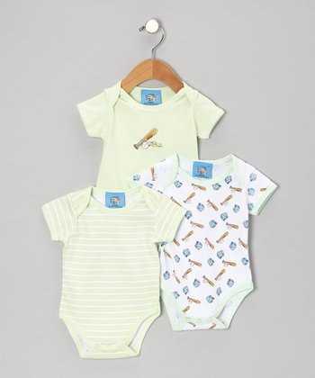 Green Baseball Bodysuit Set - Infant