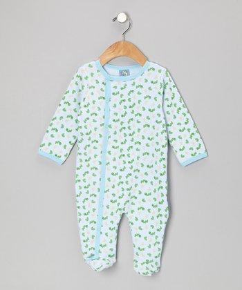 Blue 'Feed Me' Caterpillar Footie - Infant