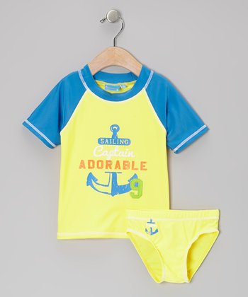 Yellow 'Sailing Captain Adorable' Rashguard Set - Toddler