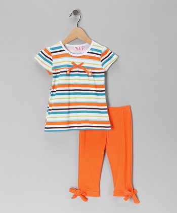 Orange Stripe Tunic & Leggings - Toddler